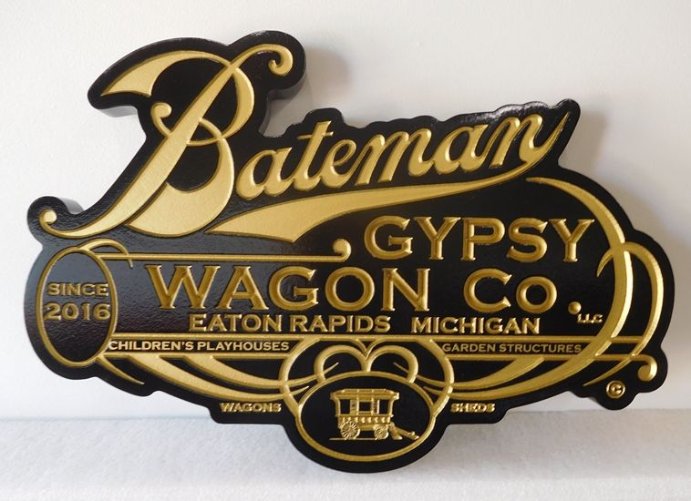 M7417 -Carved and Engraved  Sign for the Bateman Gypsy Wagon Company