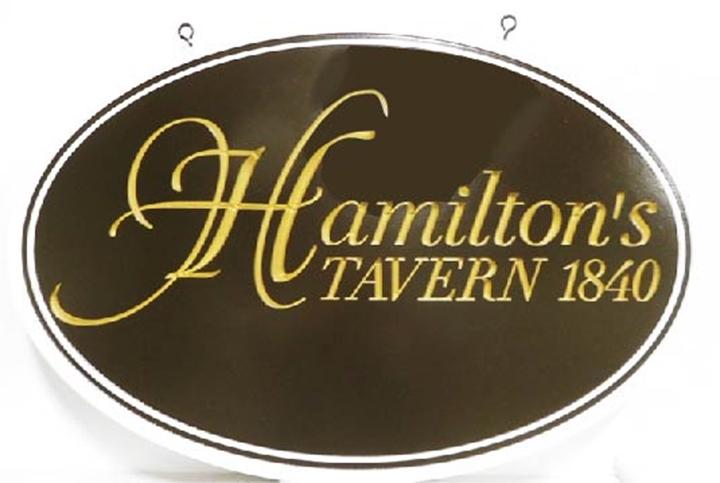 """RB27563 - Carved HDU  Vintage Sign for """"Hamilton's Tavern - 1810""""  with  2.5-D  Engraved Script Text  24K Gold-Leaf Gilded"""