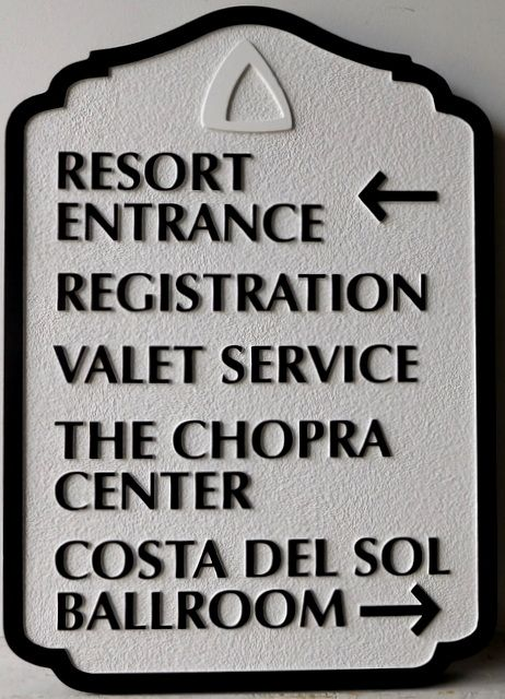 T29416A - Carved and Sandblasted  HDU Wayfinding Resort Hotel Sign