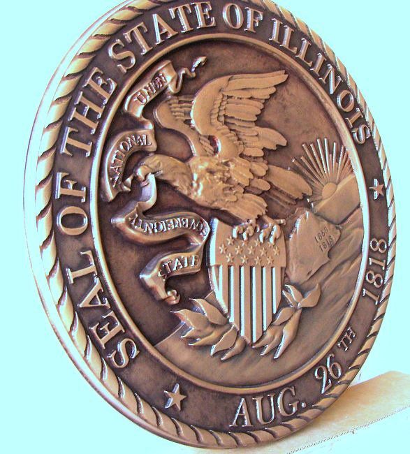 M7010 - Bronze Wall Plaque of the Seal of the State of Illinois, Left Side View