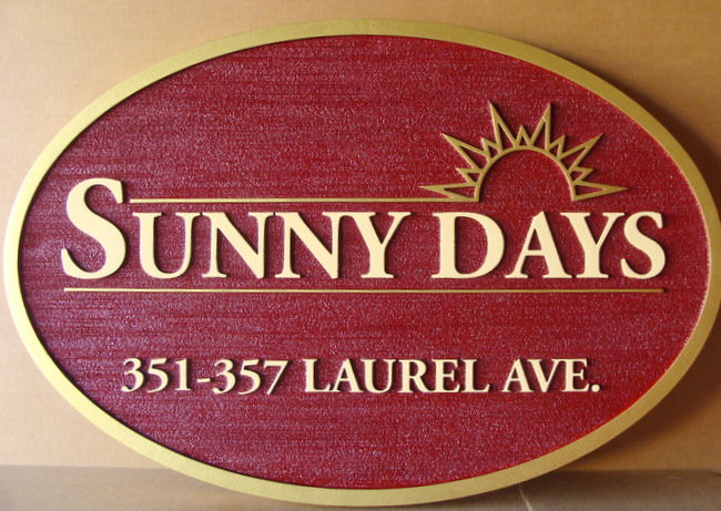 K20202 - Carved and Sandblasted Address Entrance Sign for Sunny Days Residential Community, with Stylized Rising Sun