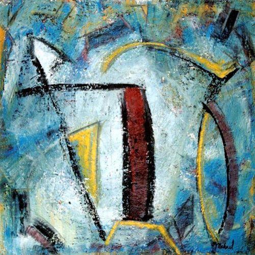 """Paintbrushes, acrylic, 24"""" x 24""""Balancing Act, Acrylic painting, 36"""" x 36"""""""