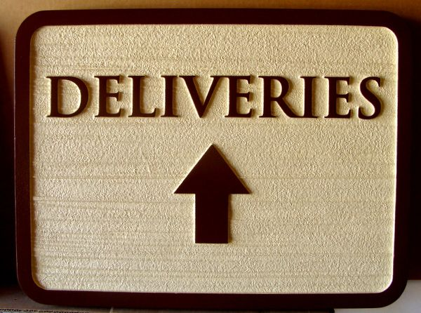 Q25064 - Carved, Sandblasted Wood Look Directional Sign for Deliveries with Carved Raised Arrow
