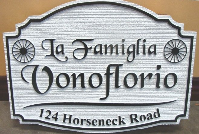 I18164 - Carved and Sandblasted HDU Residence Name and Address Sign