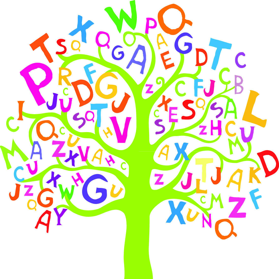 Alphabet Tree Mural Wallpaper
