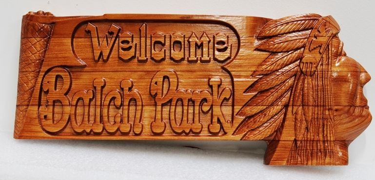 "GA16428 - Carved 3-D Bas-Relief  Mahogany Wood  Entrance Sign ""Welcome to Balch Park"", with  Rustic Text and a Portrait of a Native American"