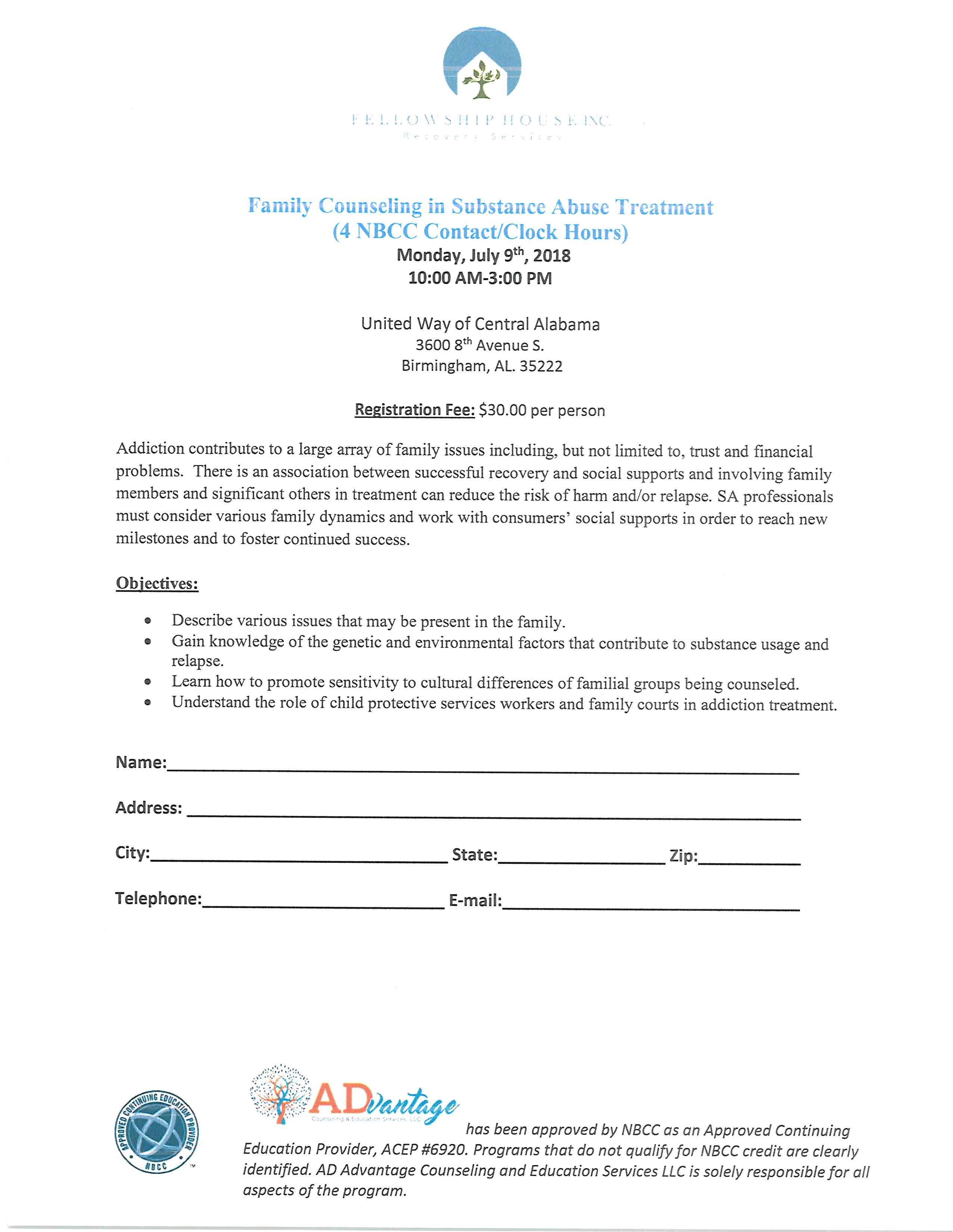 Family Counseling in Substance Abuse Treatment (4 NBCC Contact/Clock Hours)