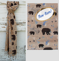 Bear Cotton Scarf - Tan