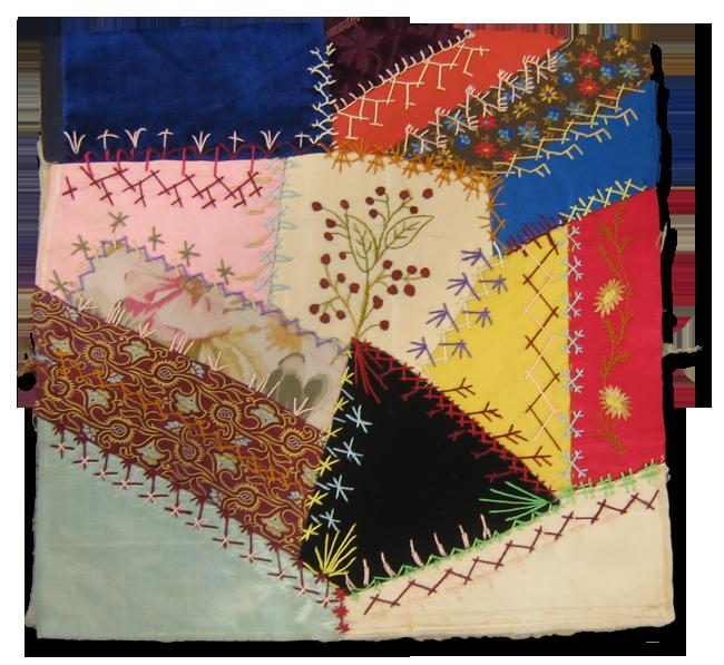 Crazy block, made by Maud McPherson Shannon, circa 1883, IQSCM 2002.002.0001.01
