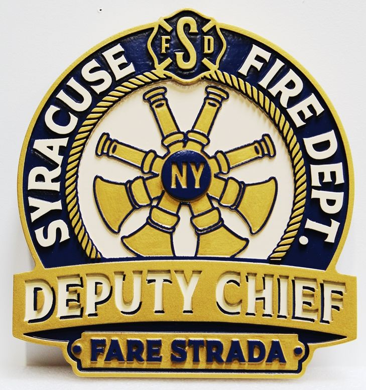 QP-3002 -   Carved and Artist-Painted High-Density-Urethane Plaque of  the Emblem of the Deputy Chief of the Syracuse, New York, Fire Department
