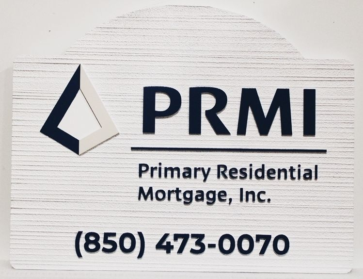 """C12237 . Carved and Sandblasted Wood Grain HDU Sign for the """"PRMI- Primary Residential Mortgage, Inc."""""""