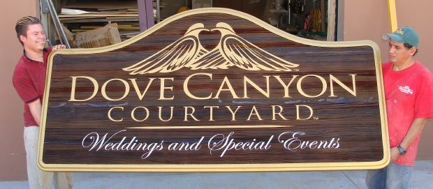 """S28010 - Large Redwood Carved and Sandblasted Entrance  Sign for """"Dove Canyon Courtyard"""" Business for Weddings and Special Events"""