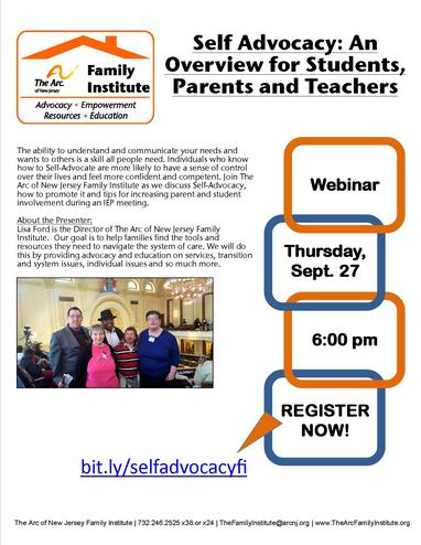 Webinar: Self Advocacy: An  Overview for Students, Parents and Teachers
