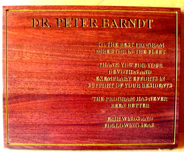 JP-2740 - Engraved Dedication  Plaque  for Navy Program Manager, Painted Metallic Gold Text on Mahogany Wood