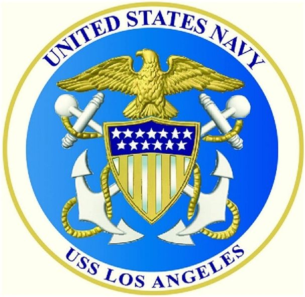 JP-2080 - Carved Plaque of Seal  of  Navy Fast Attack Submarine (SSN)  USS Los Angeles, Artist Painted