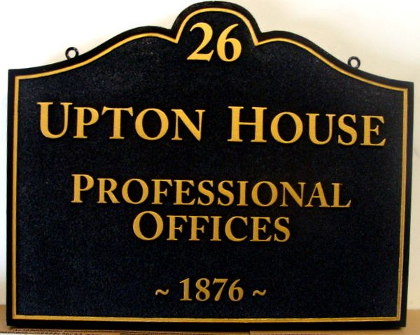 "C12079- Carved and Sandblasted HDU Professional Offices Sign, ""Upton House"""
