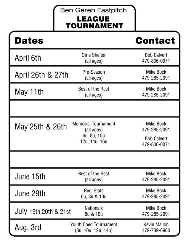 SCGSL Tournament Schedule