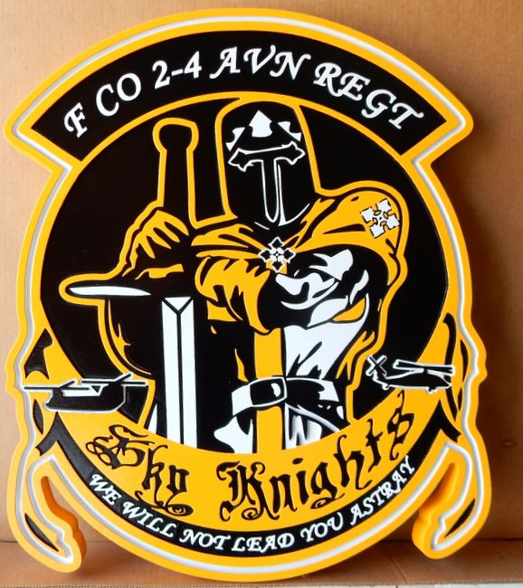 """LP-2865 - Carved Round Plaque of the Crest of the F CO 2-4 AVN REGT,""""Sky Knights"""" ,   Artist Painted"""