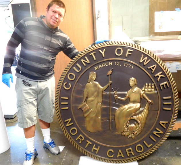 CP-1740 - Carved Plaque of the Seal of Wake  County, North Carolina,   Brass Plated
