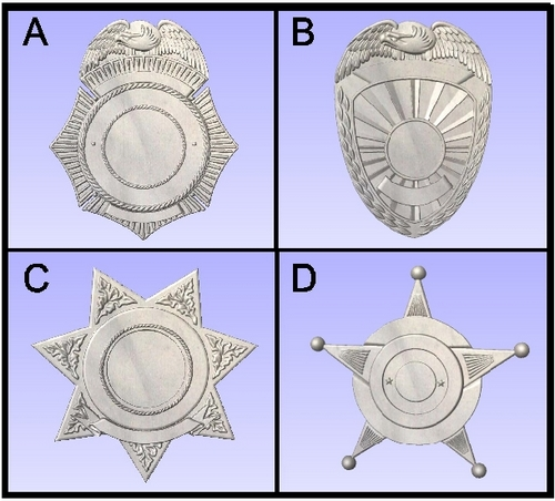 X33488 - Carved Wood Wall Plaques of various Police & Sheriff Shield and Badge Designs