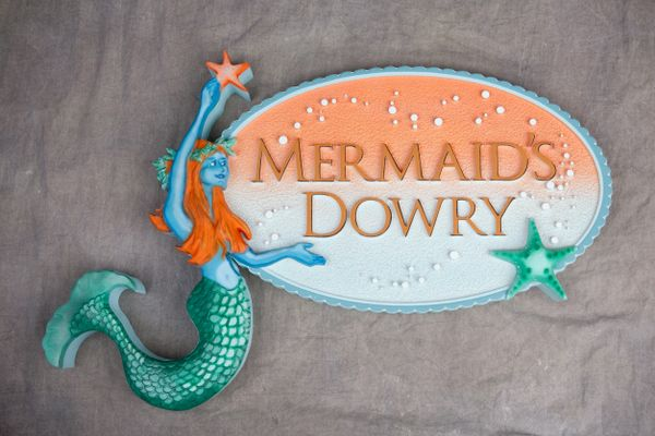"""SA28002 - Sign for Women's Clothing Store """"Mermaid Dowry"""",  with 3-D Mermaid and Starfish Logo"""