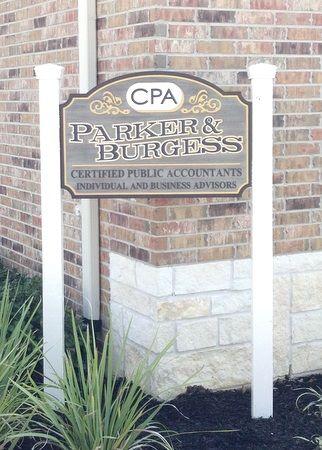S28021 - Elegant Carved Entrance Sign for CPA Firm