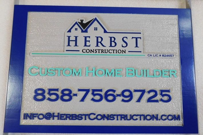 """S28110 - Carved and Sandblasted HDU Commercial Sign  for  """"Herbst Construction """" Store, 2.5-D Artist-Painted"""