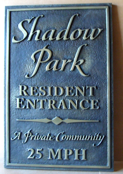"KA20602 - Carved, Sandblasted Stone Look  Apartment Resident Entrance Sign, ""A Private Community,"" 25 mph Speed Limit"
