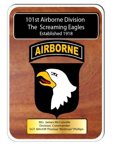 "MP-3360- Engraved  Command  Plaque, ""The Screaming Eagles"" 101st Airborne Division,  US Army (USA), Personalized,  Mahogany Wood with Brass Plates"