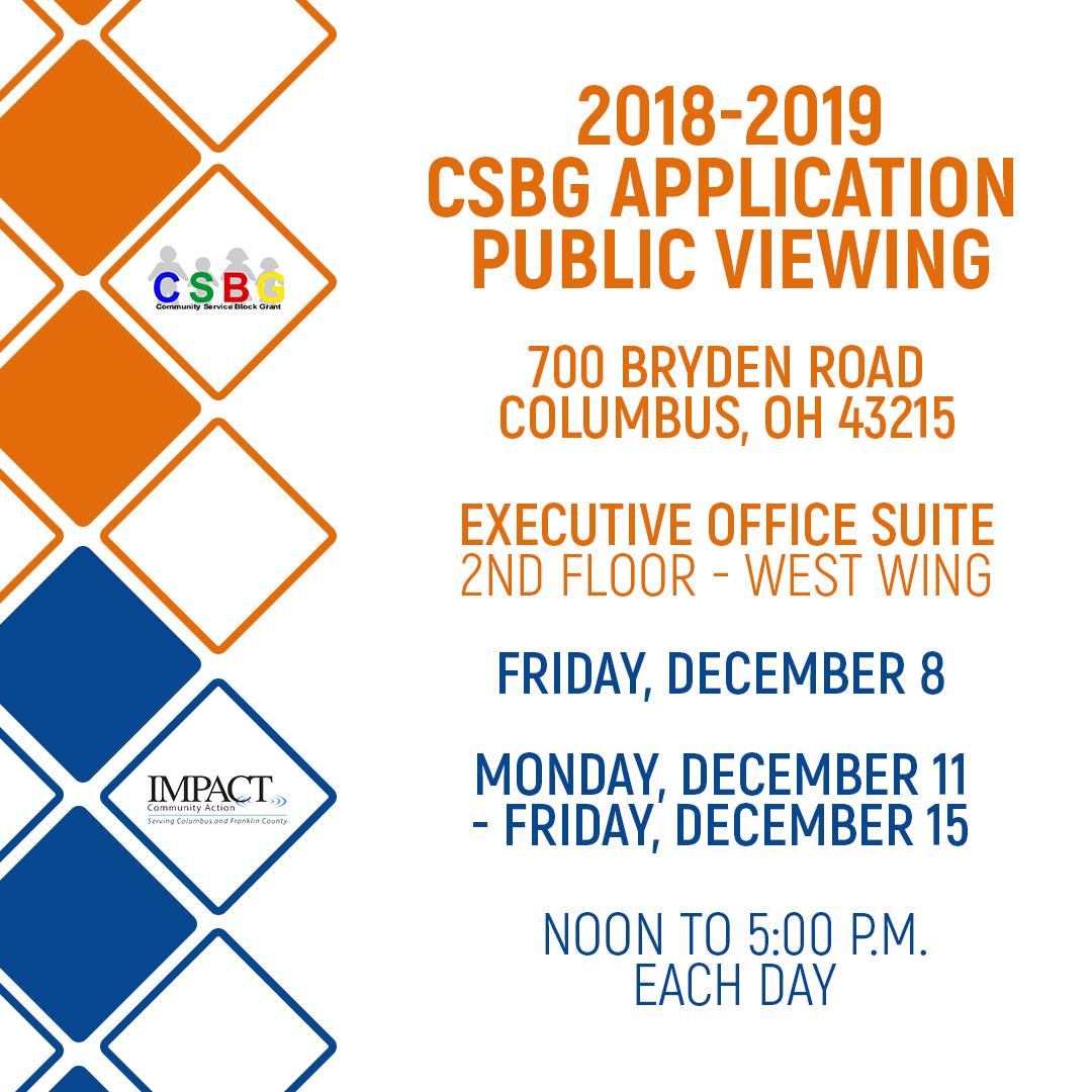 Public Viewing for 2018-2019 Community Service Block Grant (CSBG) Application