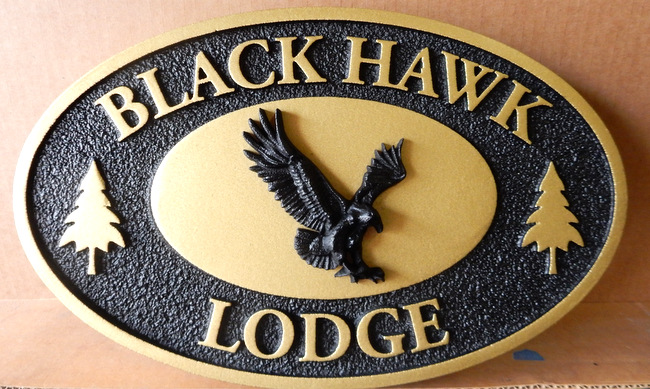 "T29122- Carved  and Sandblasted Wood Grain HDU Sign for the Carved  HDU Sign for the ""Black Hawk"" Lodge"