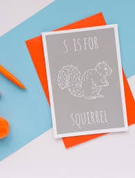 S is for Squirrel Greeting Card with Envelope by Darwin Designs