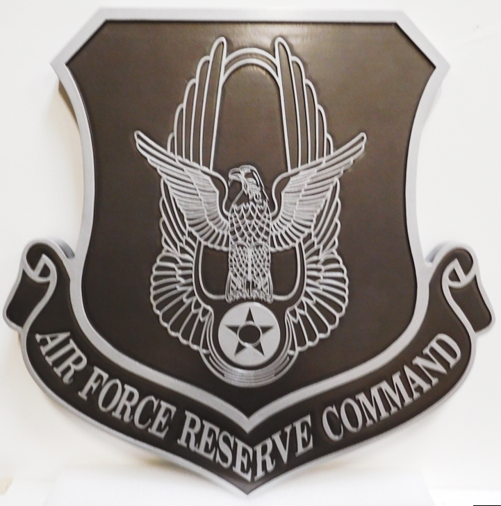 LP-1690 - Carved Plaque of the Shield of the United States Air Force Reserve Command, 2.5-D Painted Metallic Silver and Black