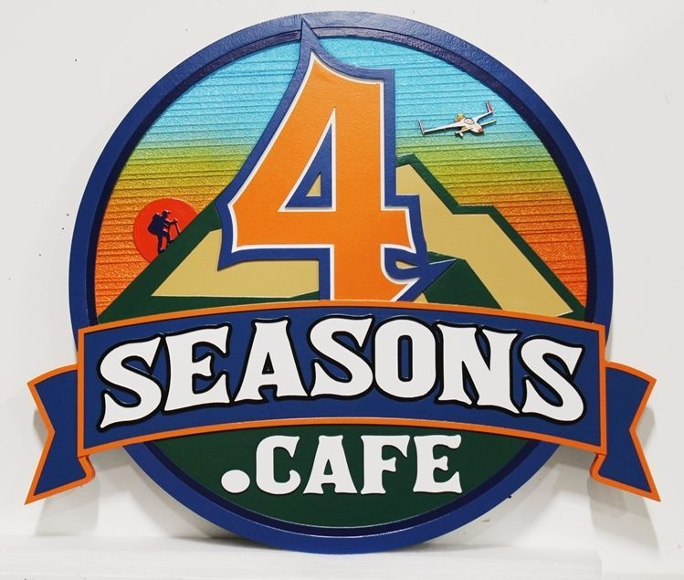 "Q25554 - Carved 2.5-D and Sandblasted Wood Grain  Sign for the ""Four Seasons Cafe"""