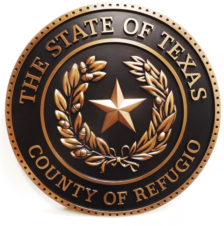 CP-1497 - Carved Plaque of the Seal of Refugio  County,Texas,  3-D relief,  Brass Metal Plated
