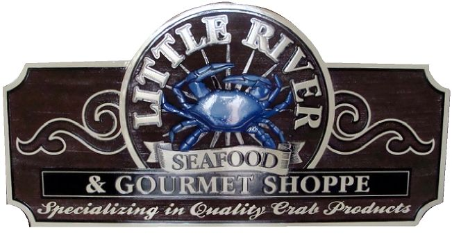 "Q25108 - Carved Raised Sign for Seafood Restaurant and Gourmet Shoppe with ""Quality Crab Products,"" and 3-D Carved Crab"