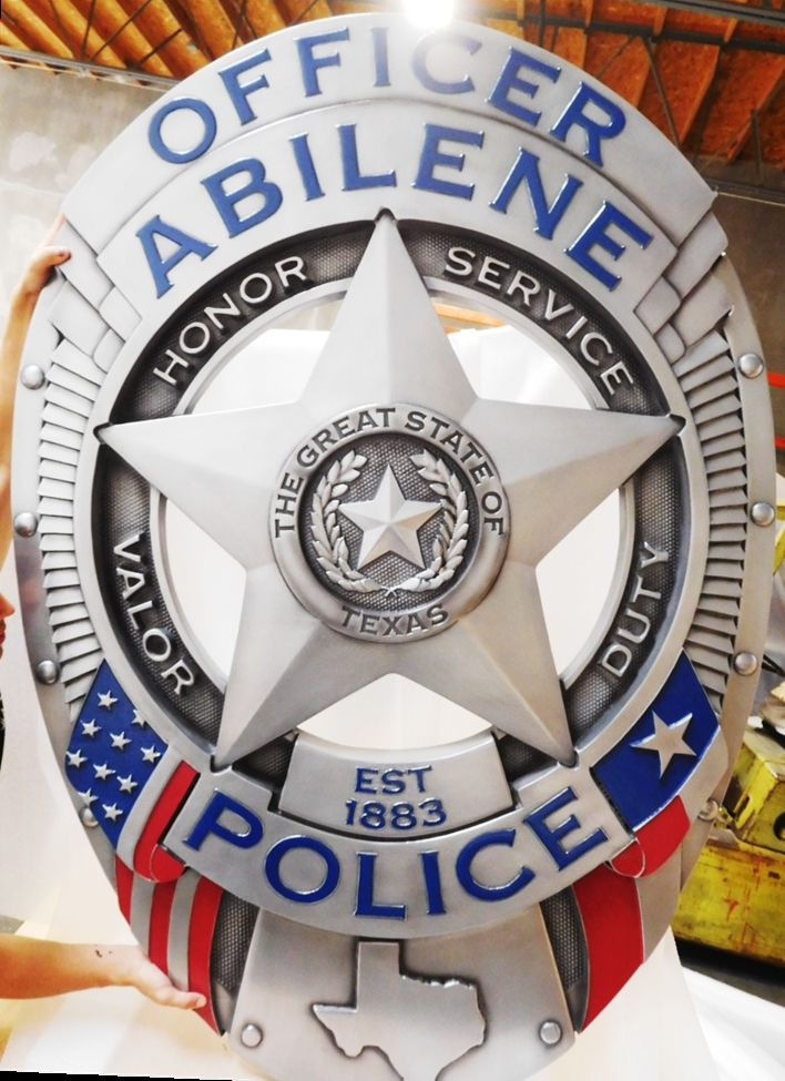 PP-1420 - Carved Plaque of a  Police Officer Badge of the City of Abilene, Texas, 3-D Aluminum-Plated