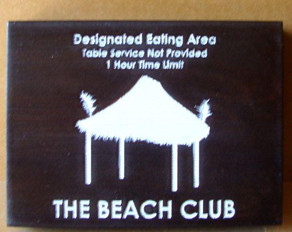 L22165-Engraved  Cedar Beach Club Rules Sign, with Palapa