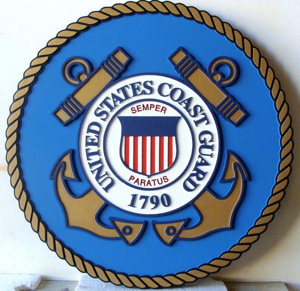 V31909  - US Coast Guard Seal Wooden Wall Plaque (Version 3)