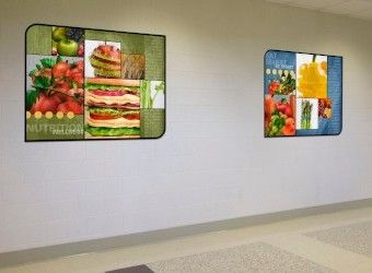 2 large food art murals in school hallway, large custom signs for school