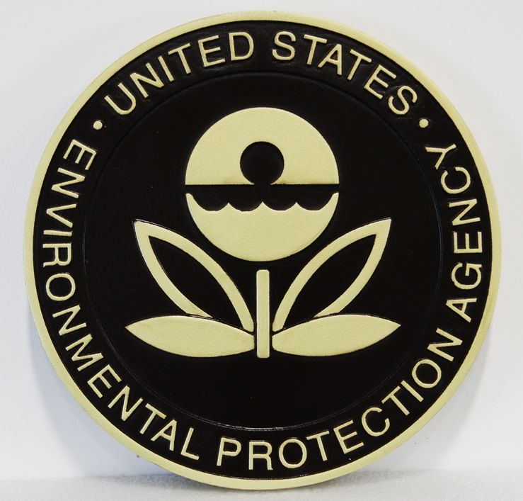 P-6161- Carved Plaque of the  Seal of the  Environmental Protection Agency (EPA),  Artist Painted Gold & Black