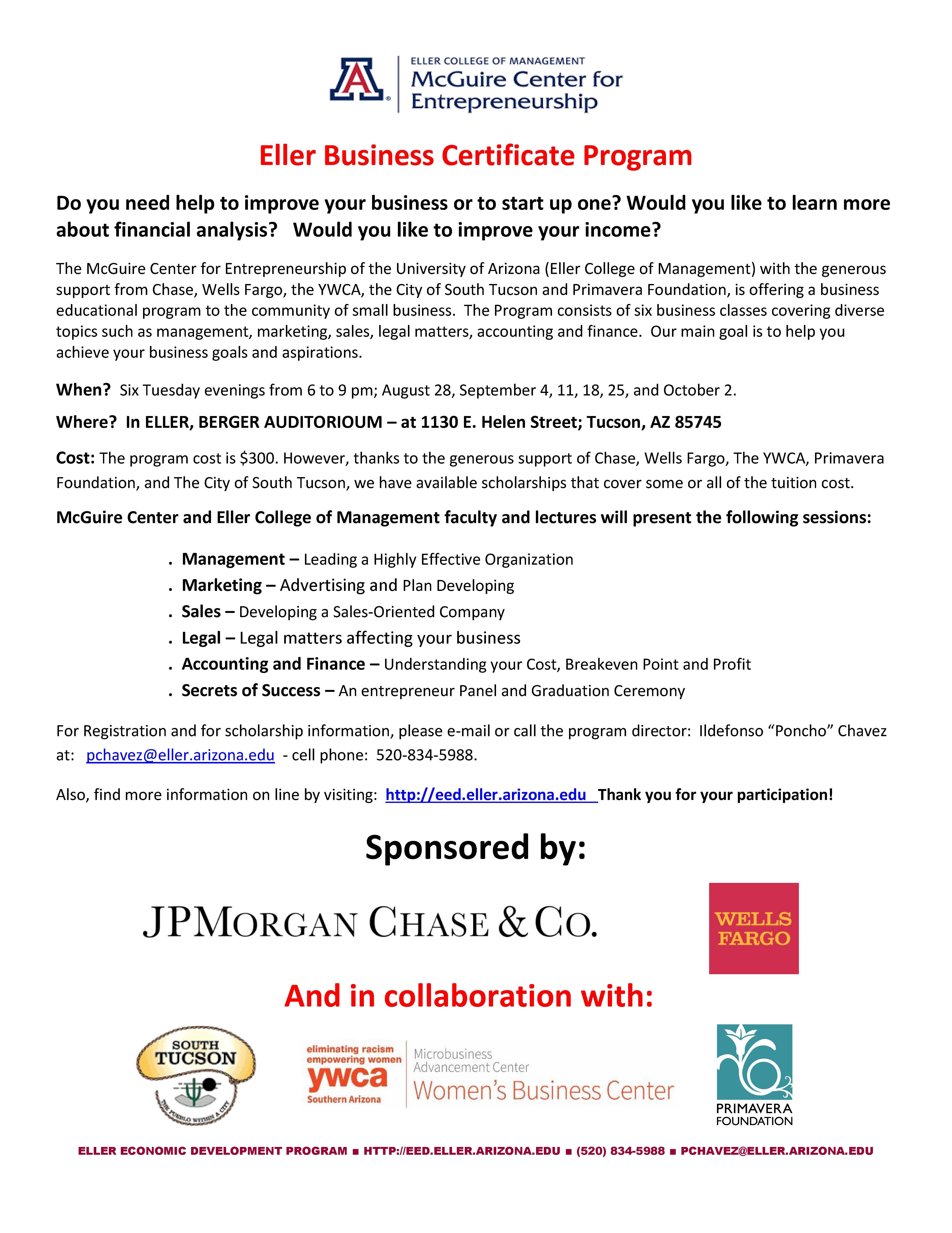 Primavera Supports UA's Eller Business Certificate Program
