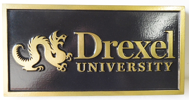 Y34467 -  Carved Rectangular Wall Plaque for Drexel University.