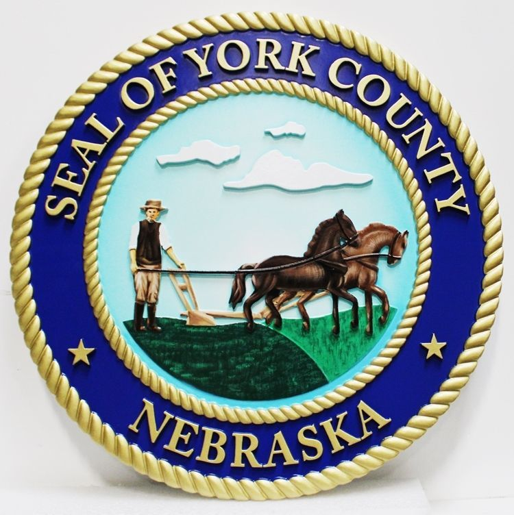 CP-1815 - Carved 3-D HDU Plaque of the Seal  of York County, Nebraska