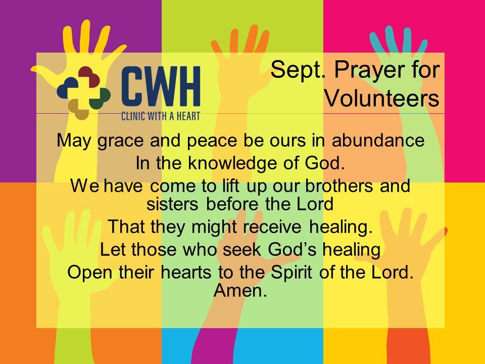 September Prayer for Volunteers