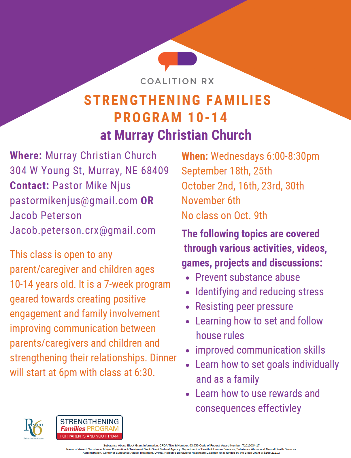 Strengthening Families Program 10-14 with Murray Christian Church