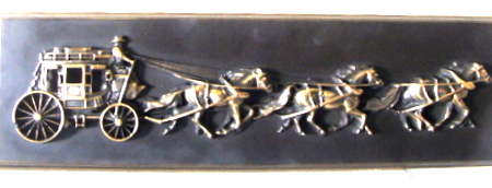 M7164 - Brass Wall Plaque of Stagecoach and Running Horses