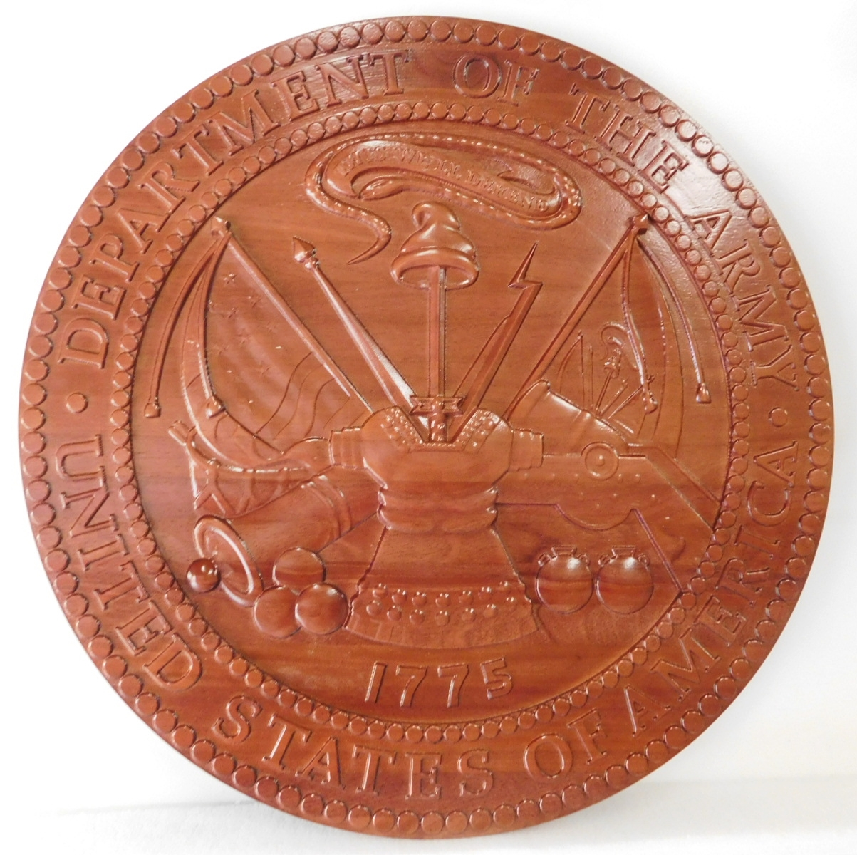 WM-1135 - Seal of the US Army, 3-D Stained Mahogany