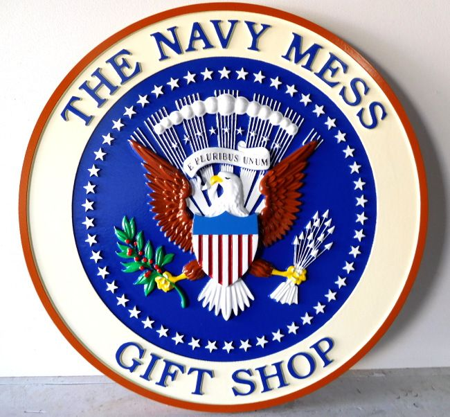 "M2089 - Carved HDU Sign ""The Navy Mess"", featuring the Great Seal of the US President, located in the Gift Shop, the White House, Washington, D.C.(Gallery 30)"
