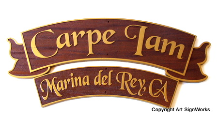 L21805 - Carved Redwood Yacht Name & Hailport Plaques